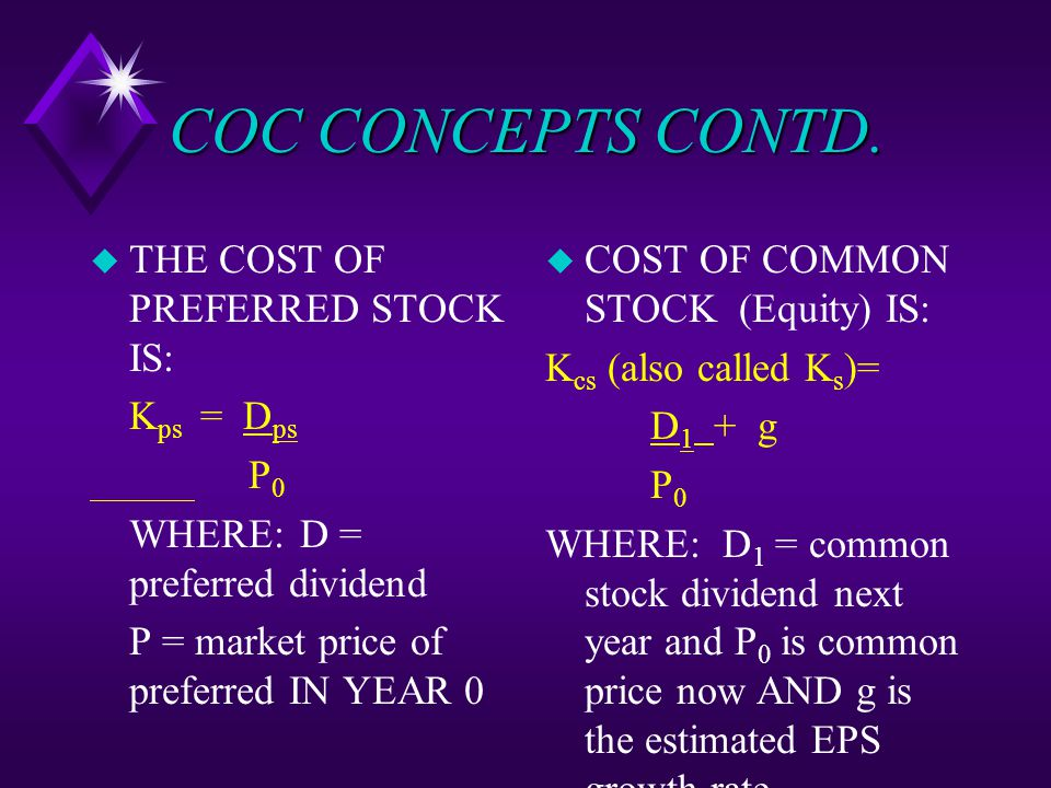 COC CONCEPTS CONTD. u THE COST OF PREFERRED STOCK IS: K ps = D ps P 0 WHERE:D = preferred dividend P = market price of preferred IN YEAR 0 u COST OF C