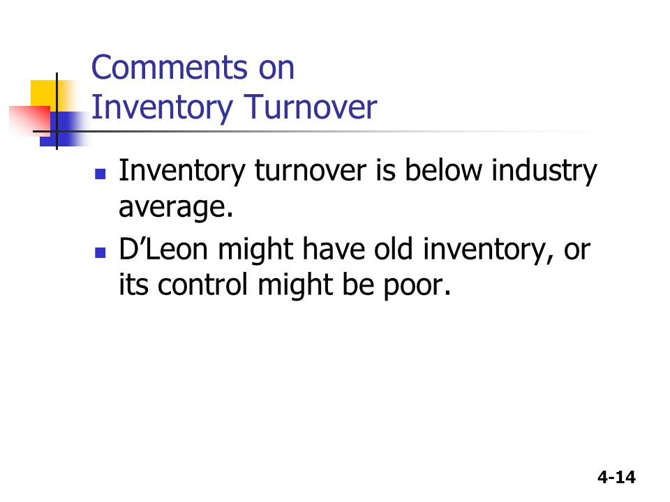 4-14 Comments on Inventory Turnover Inventory turnover is below industry average.