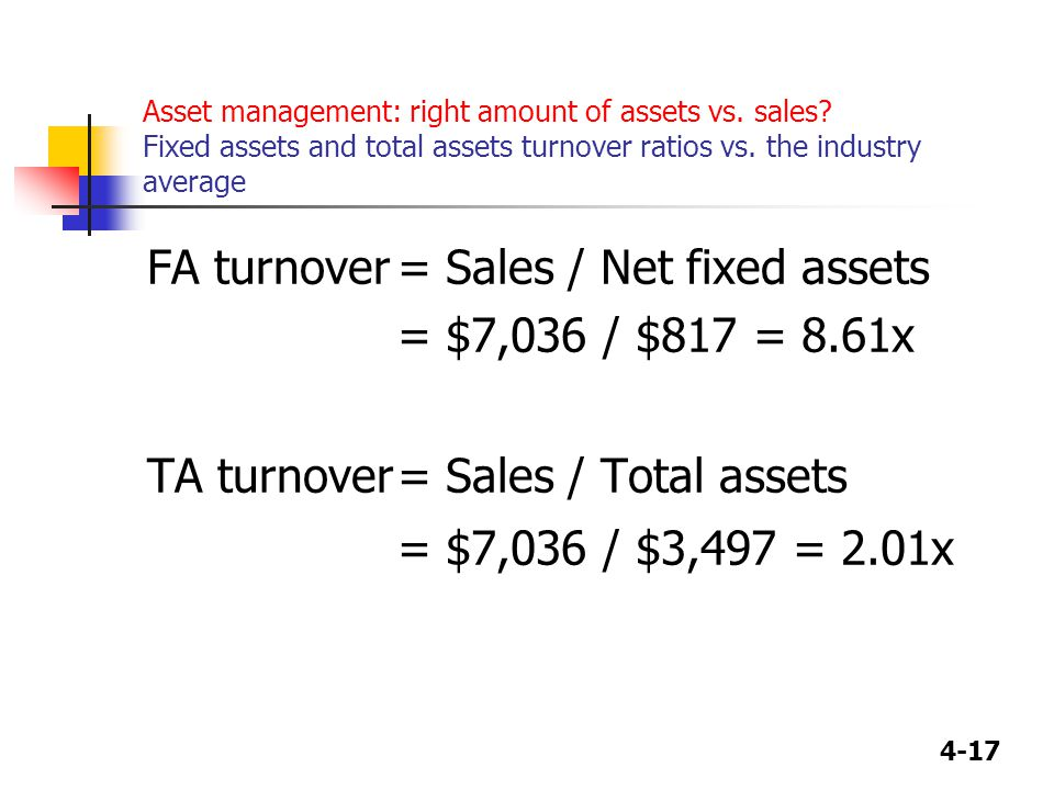 4-17 Asset management: right amount of assets vs. sales.