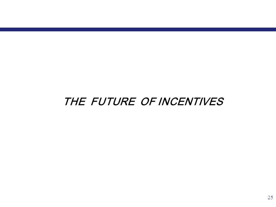 25 THE FUTURE OF INCENTIVES