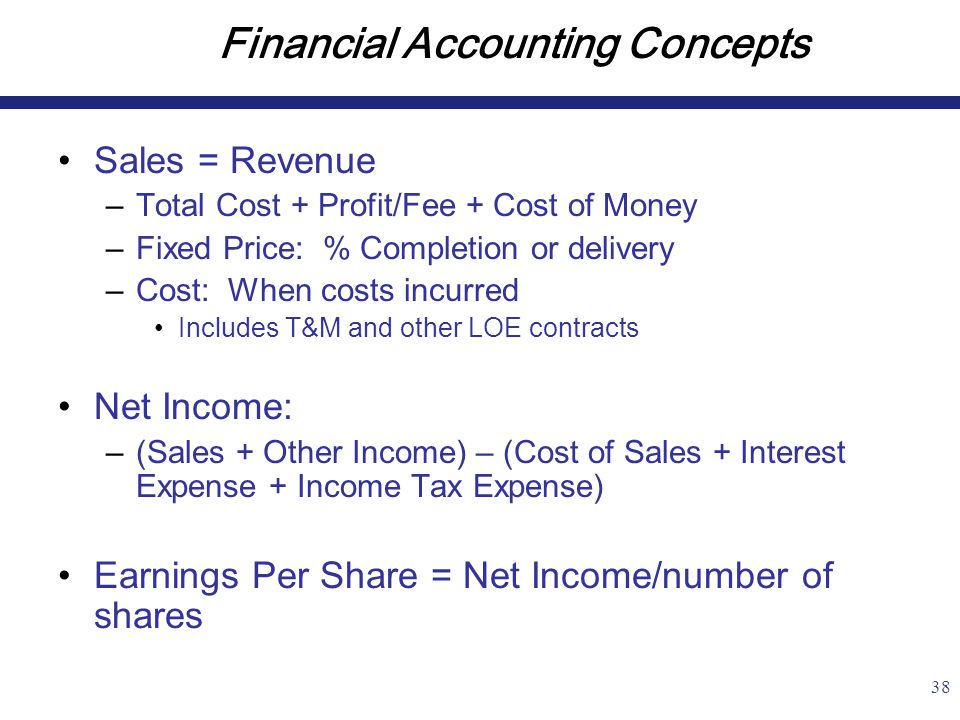 38 Financial Accounting Concepts Sales = Revenue –Total Cost + Profit/Fee + Cost of Money –Fixed Price: % Completion or delivery –Cost: When costs incurred Includes T&M and other LOE contracts Net Income: –(Sales + Other Income) – (Cost of Sales + Interest Expense + Income Tax Expense) Earnings Per Share = Net Income/number of shares