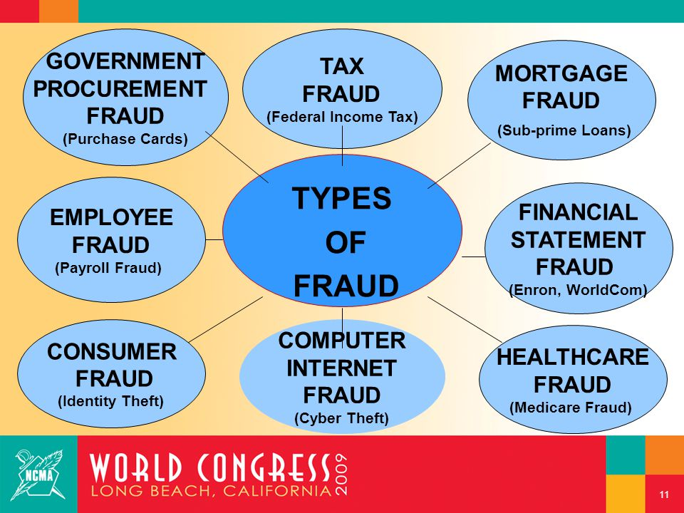 COMPUTER INTERNET FRAUD (Cyber Theft) TYPES OF FRAUD MORTGAGE FRAUD (Sub-prime Loans) HEALTHCARE FRAUD (Medicare Fraud) EMPLOYEE FRAUD (Payroll Fraud)