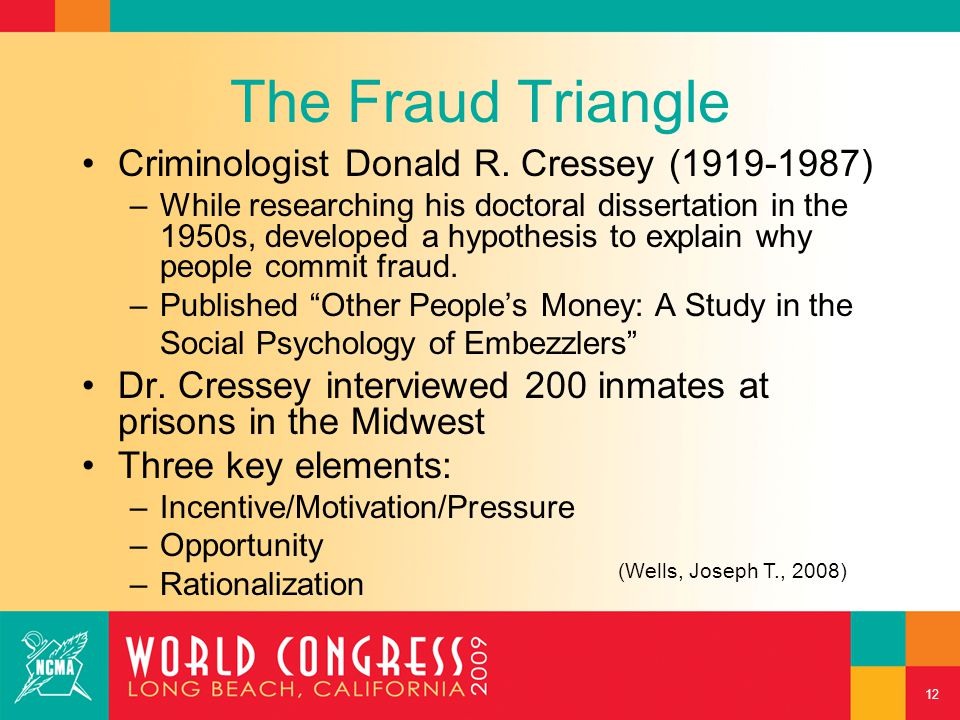 The Fraud Triangle Criminologist Donald R. Cressey (1919-1987) –While researching his doctoral dissertation in the 1950s, developed a hypothesis to ex