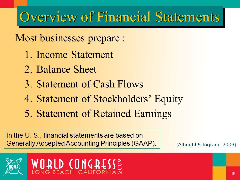 Most businesses prepare : 1.Income Statement 2.Balance Sheet 3.Statement of Cash Flows 4.Statement of Stockholders' Equity 5.Statement of Retained Ear