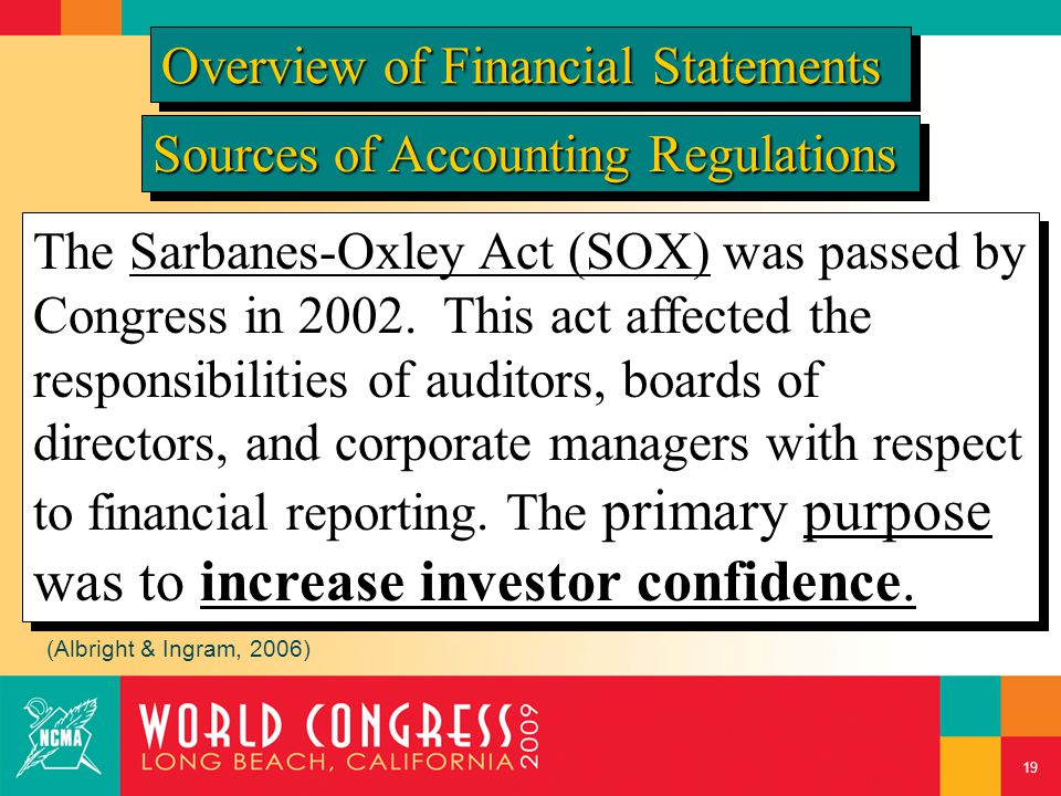 Sources of Accounting Regulations The Sarbanes-Oxley Act (SOX) was passed by Congress in 2002. This act affected the responsibilities of auditors, boa