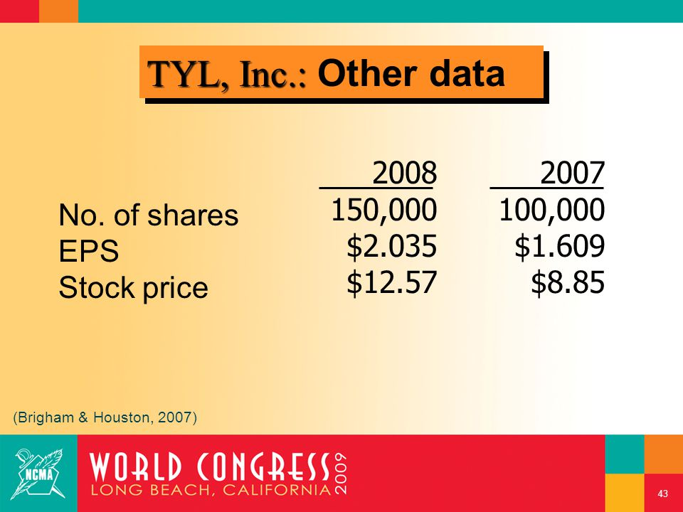 No. of shares EPS Stock price 2008 150,000 $2.035 $12.57 2007 100,000 $1.609 $8.85 (Brigham & Houston, 2007) TYL, Inc.: TYL, Inc.: Other data 43