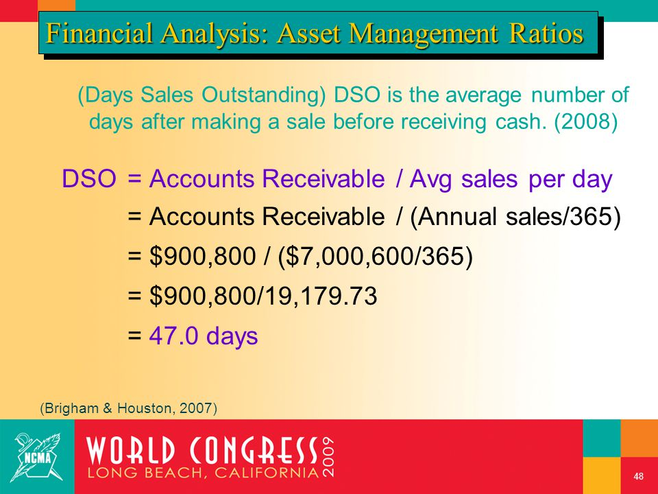 (Days Sales Outstanding) DSO is the average number of days after making a sale before receiving cash. (2008) DSO= Accounts Receivable / Avg sales per
