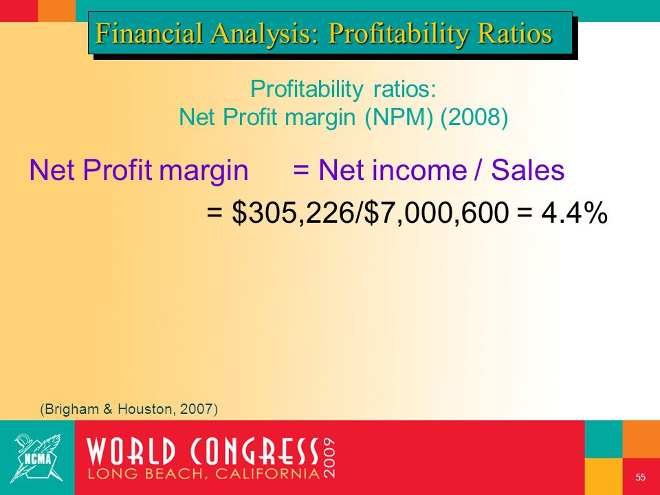 Profitability ratios: Net Profit margin (NPM) (2008) Net Profit margin= Net income / Sales = $305,226/$7,000,600 = 4.4% Financial Analysis: Profitability Ratios (Brigham & Houston, 2007) 55