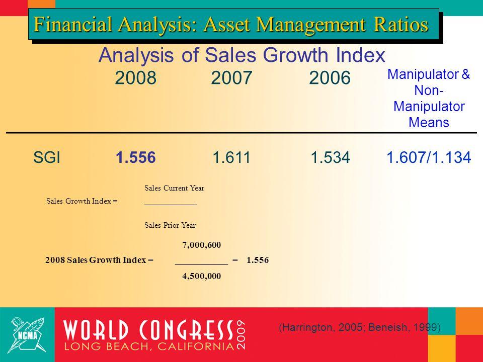 Analysis of Sales Growth Index 200820072006 Manipulator & Non- Manipulator Means SGI1.5561.6111.5341.607/1.134 Financial Analysis: Asset Management Ratios (Harrington, 2005; Beneish, 1999) Sales Current Year Sales Growth Index =_____________ Sales Prior Year 7,000,600 2008 Sales Growth Index =___________ = 1.556 4,500,000