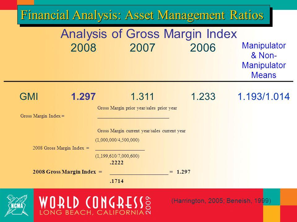 Analysis of Gross Margin Index 200820072006 Manipulator & Non- Manipulator Means GMI1.2971.3111.2331.193/1.014 Financial Analysis: Asset Management Ratios (Harrington, 2005; Beneish, 1999) Gross Margin prior year/sales prior year Gross Margin Index =_____________________________ Gross Margin current year/sales current year (1,000,000/4,500,000) 2008 Gross Margin Index =____________________ (1,199,610/7,000,600).2222 2008 Gross Margin Index =____________________ = 1.297.1714