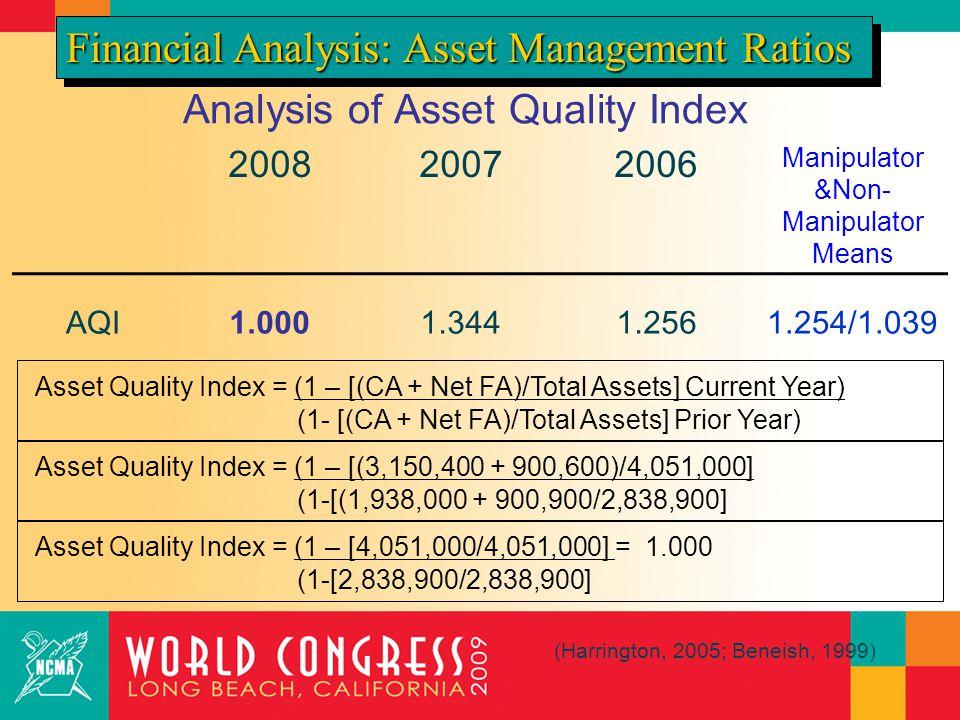 Analysis of Asset Quality Index 200820072006 Manipulator &Non- Manipulator Means AQI1.0001.3441.2561.254/1.039 Financial Analysis: Asset Management Ratios (Harrington, 2005; Beneish, 1999) Asset Quality Index = (1 – [(CA + Net FA)/Total Assets] Current Year) (1- [(CA + Net FA)/Total Assets] Prior Year) Asset Quality Index = (1 – [(3,150,400 + 900,600)/4,051,000] (1-[(1,938,000 + 900,900/2,838,900] Asset Quality Index = (1 – [4,051,000/4,051,000] = 1.000 (1-[2,838,900/2,838,900]