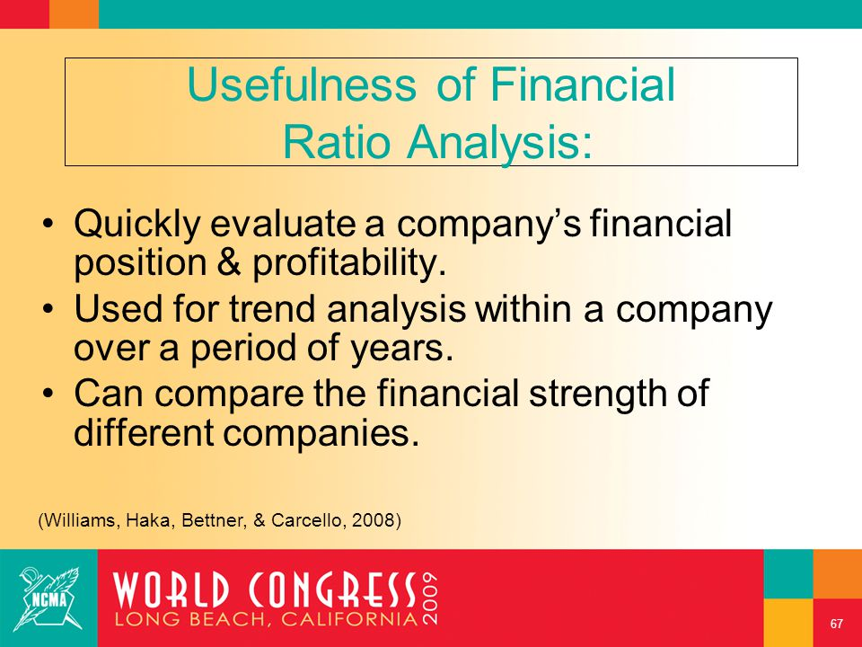 Usefulness of Financial Ratio Analysis: Quickly evaluate a company's financial position & profitability. Used for trend analysis within a company over