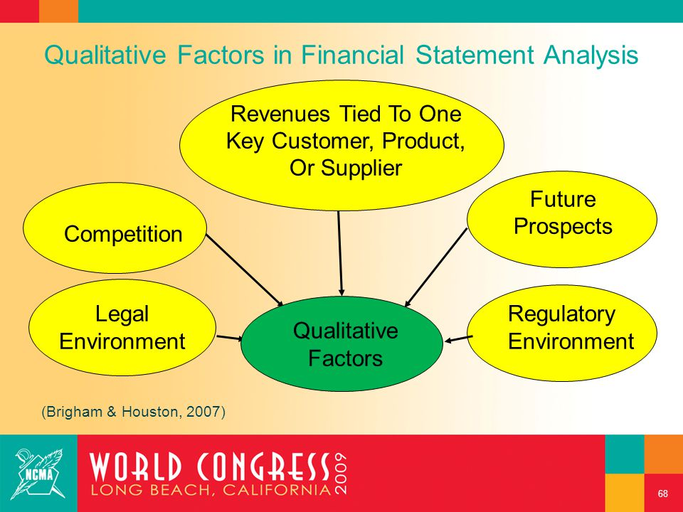 Qualitative Factors in Financial Statement Analysis Regulatory Environment Competition Revenues Tied To One Key Customer, Product, Or Supplier Legal E