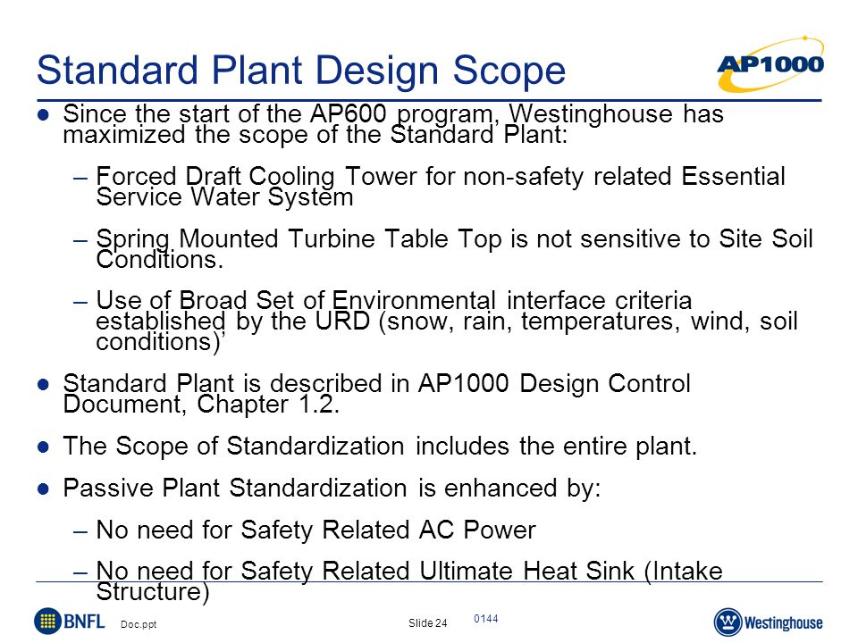 Slide 24 Doc.ppt 0144 Standard Plant Design Scope Since the start of the AP600 program, Westinghouse has maximized the scope of the Standard Plant: –Forced Draft Cooling Tower for non-safety related Essential Service Water System –Spring Mounted Turbine Table Top is not sensitive to Site Soil Conditions.