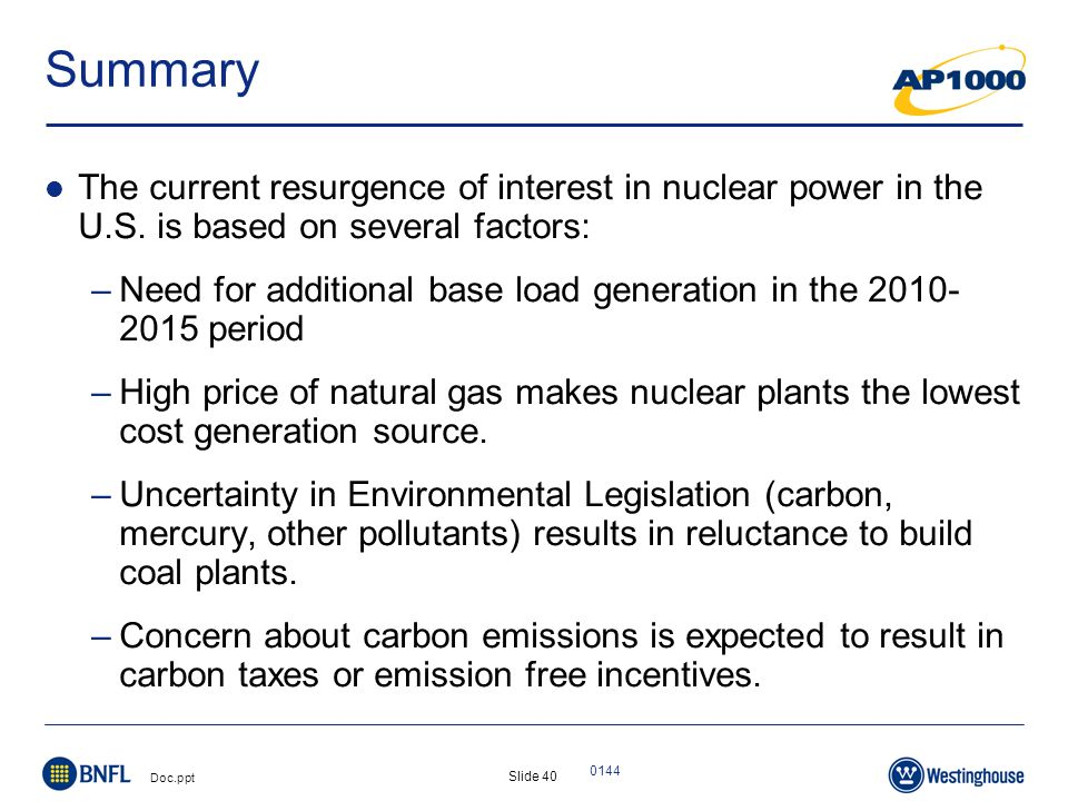Slide 40 Doc.ppt 0144 Summary The current resurgence of interest in nuclear power in the U.S.