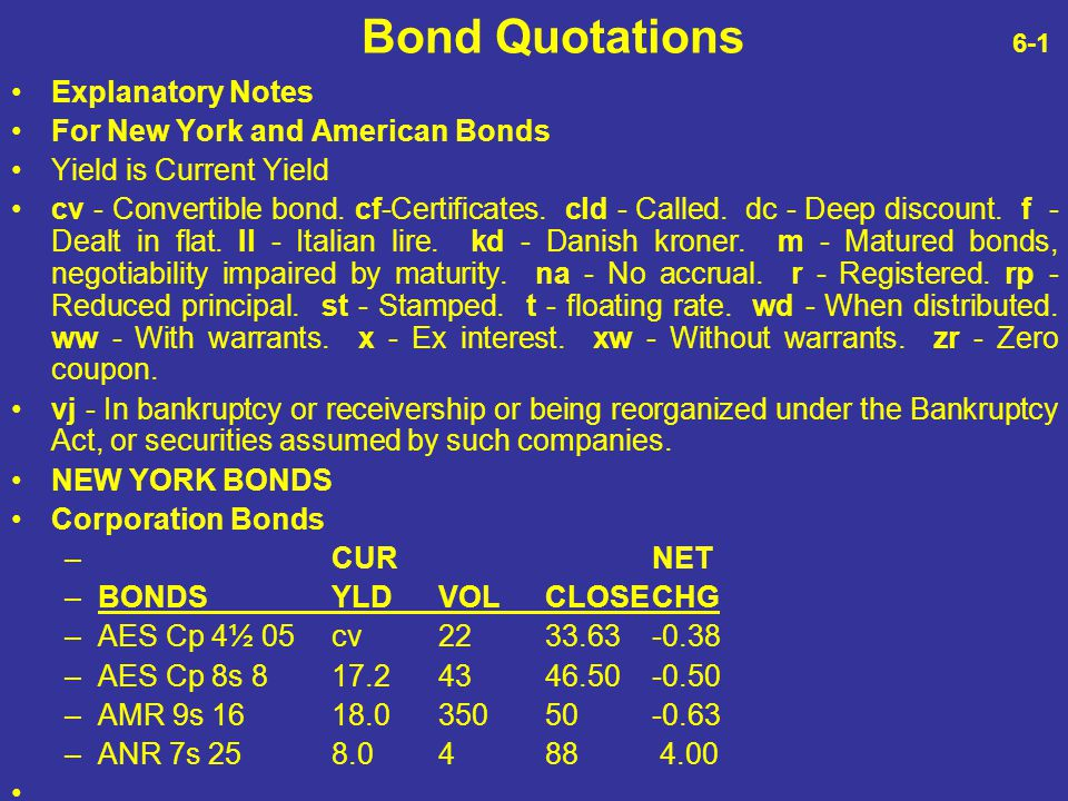 Bond Quotations 6-1 Explanatory Notes For New York and American Bonds Yield is Current Yield cv - Convertible bond. cf-Certificates. cld - Called. dc
