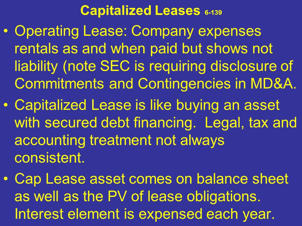 Capitalized Leases 6-139 Operating Lease: Company expenses rentals as and when paid but shows not liability (note SEC is requiring disclosure of Commi