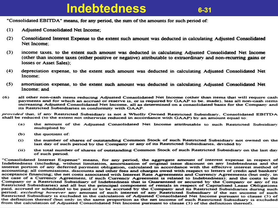 Indebtedness 6-31