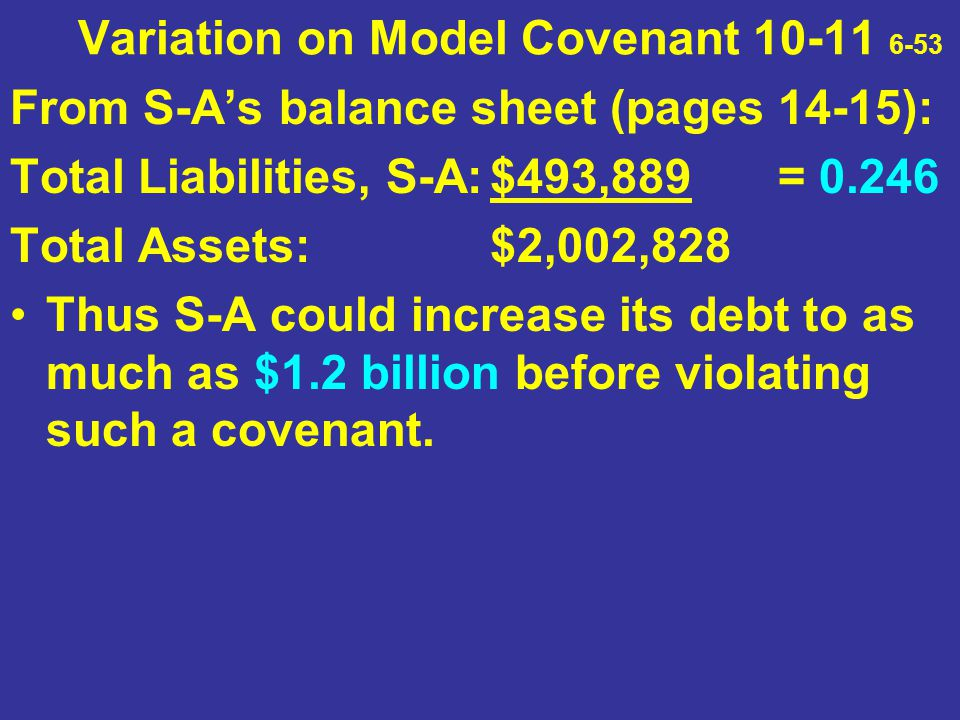 Variation on Model Covenant 10-11 6-53 From S-A's balance sheet (pages 14-15): Total Liabilities, S-A:$493,889 = 0.246 Total Assets:$2,002,828 Thus S-