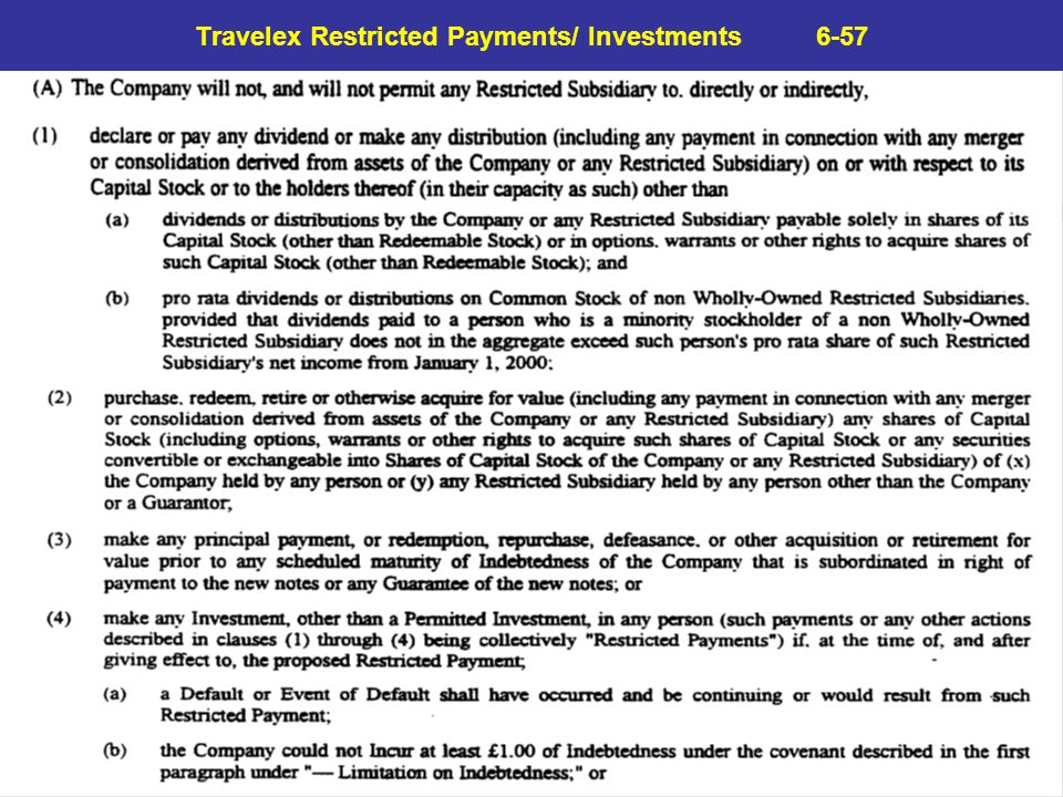 Travelex Restricted Payments/ Investments 6-57