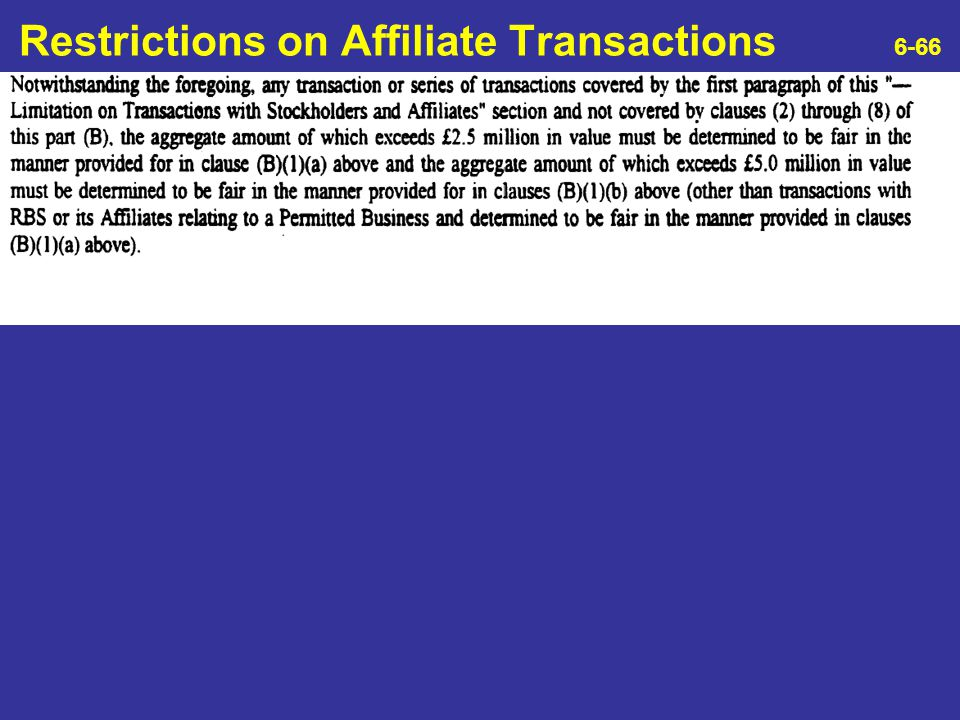 Restrictions on Affiliate Transactions 6-66