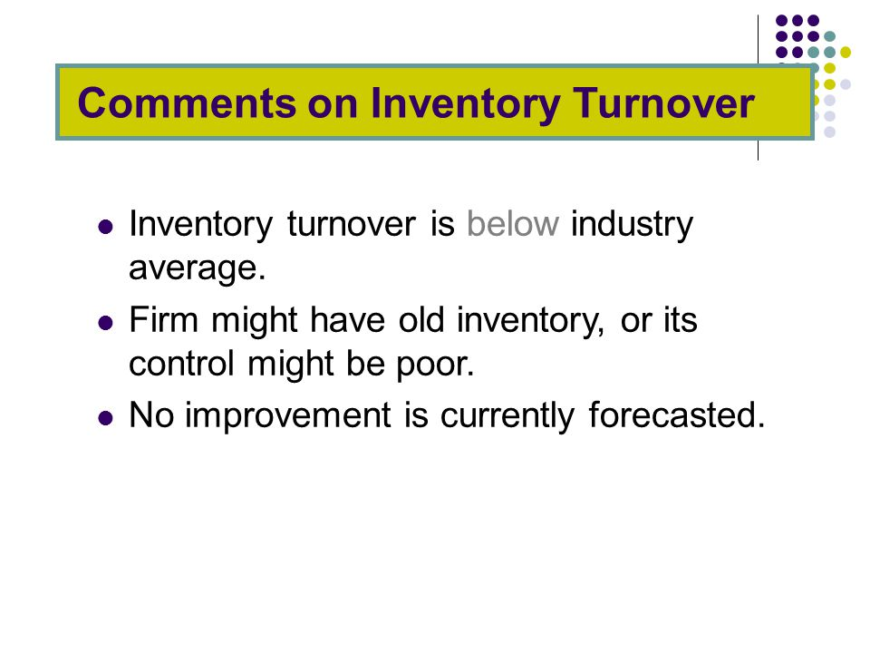 Inventory turnover is below industry average.