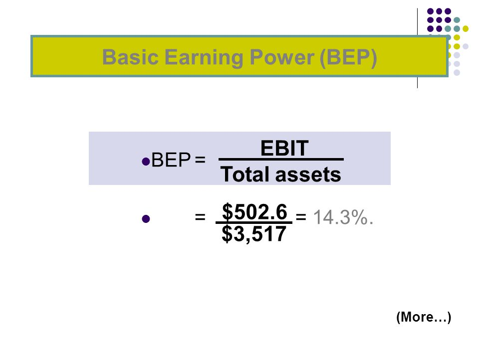 BEP= = = 14.3%. Basic Earning Power (BEP) EBIT Total assets $502.6 $3,517 (More…)