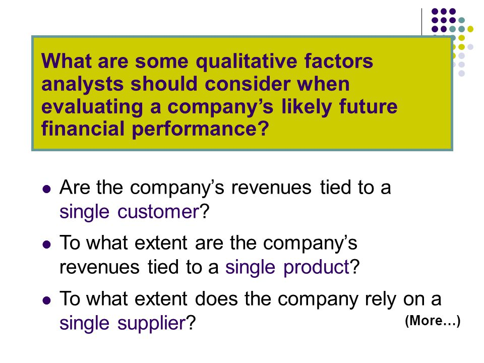 What are some qualitative factors analysts should consider when evaluating a company's likely future financial performance.