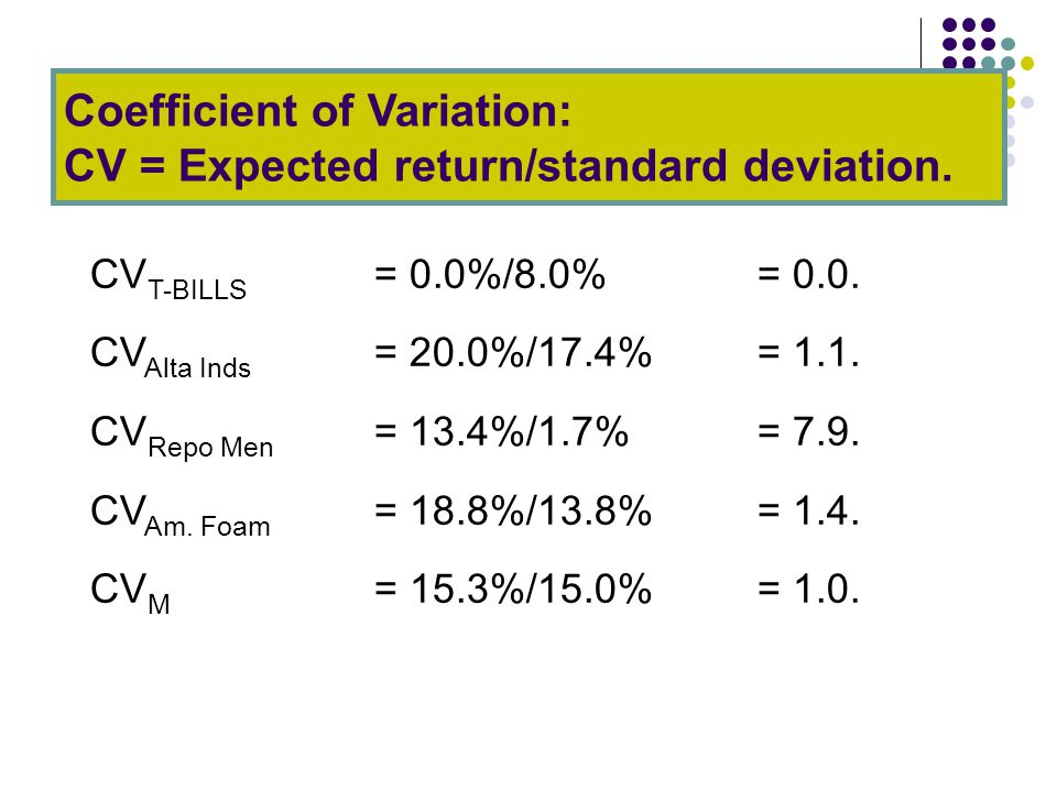 Coefficient of Variation: CV = Expected return/standard deviation.