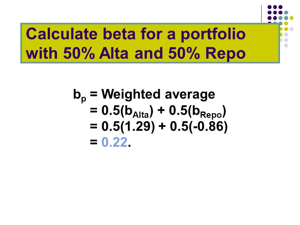 Calculate beta for a portfolio with 50% Alta and 50% Repo b p = Weighted average = 0.5(b Alta ) + 0.5(b Repo ) = 0.5(1.29) + 0.5(-0.86) = 0.22.