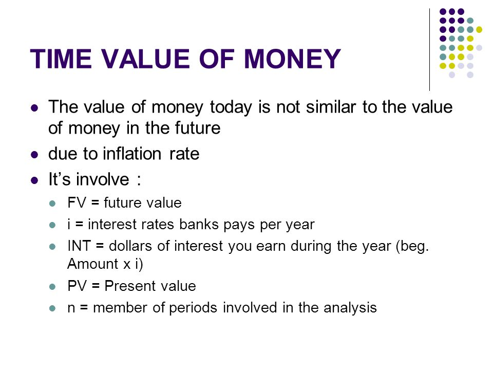 TIME VALUE OF MONEY The value of money today is not similar to the value of money in the future due to inflation rate It's involve : FV = future value i = interest rates banks pays per year INT = dollars of interest you earn during the year (beg.