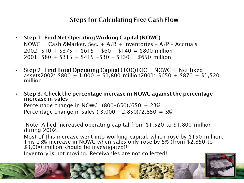Steps for Calculating Free Cash Flow Step 1: Find Net Operating Working Capital (NOWC) NOWC = Cash &Market. Sec. + A/R + Inventories – A/P – Accruals