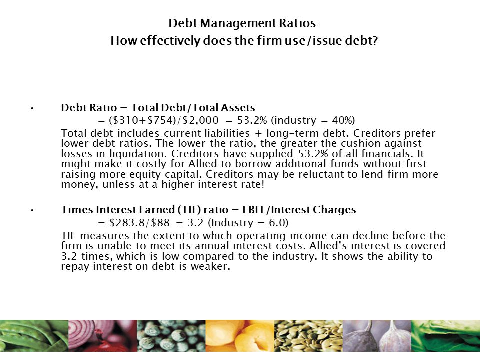 Debt Management Ratios: How effectively does the firm use/issue debt.