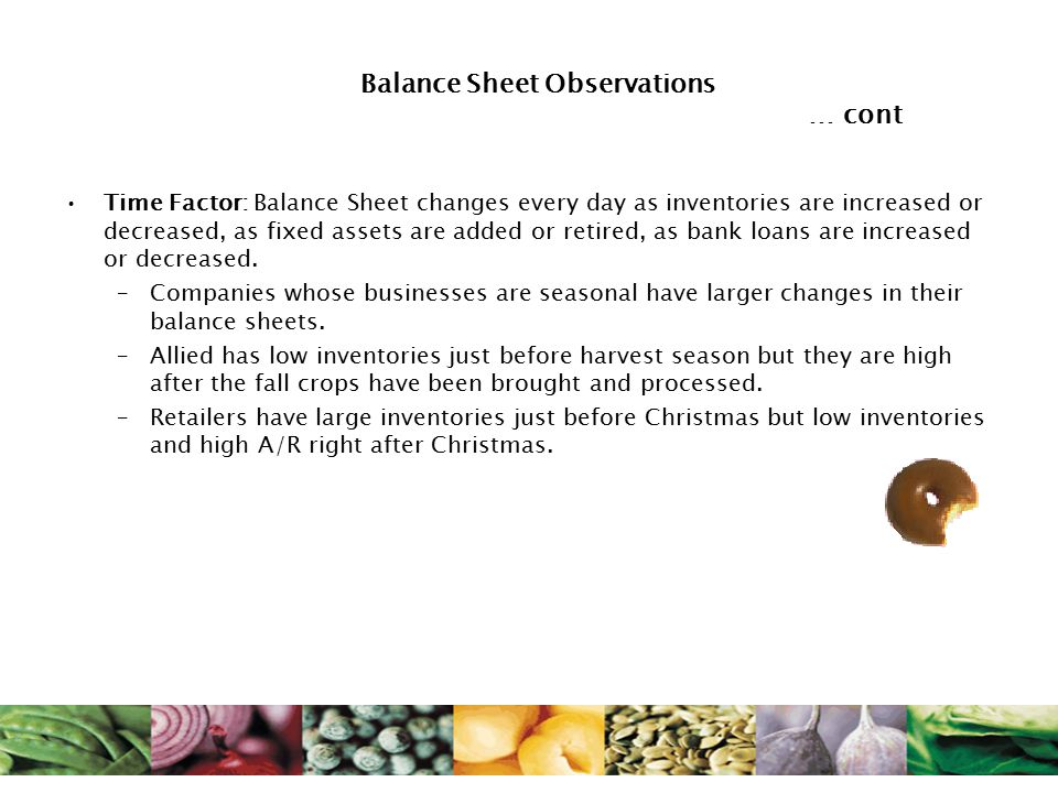 Balance Sheet Observations … cont Time Factor: Balance Sheet changes every day as inventories are increased or decreased, as fixed assets are added or retired, as bank loans are increased or decreased.