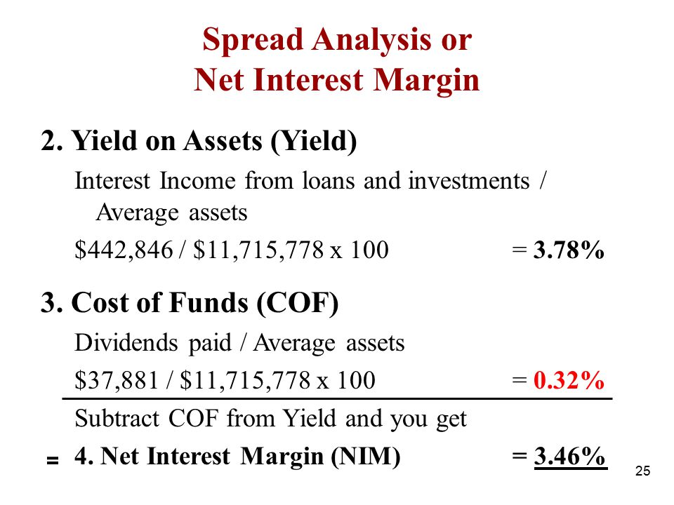 2. Yield on Assets (Yield) Interest Income from loans and investments / Average assets $442,846 / $11,715,778 x 100= 3.78% 3. Cost of Funds (COF) Divi