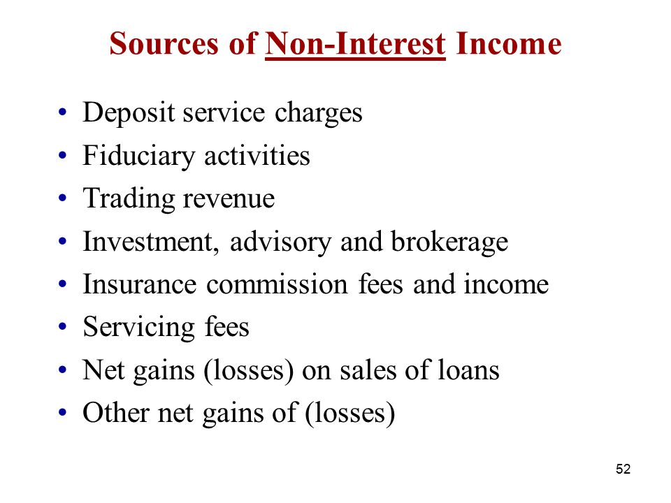 Sources of Non-Interest Income Deposit service charges Fiduciary activities Trading revenue Investment, advisory and brokerage Insurance commission fe