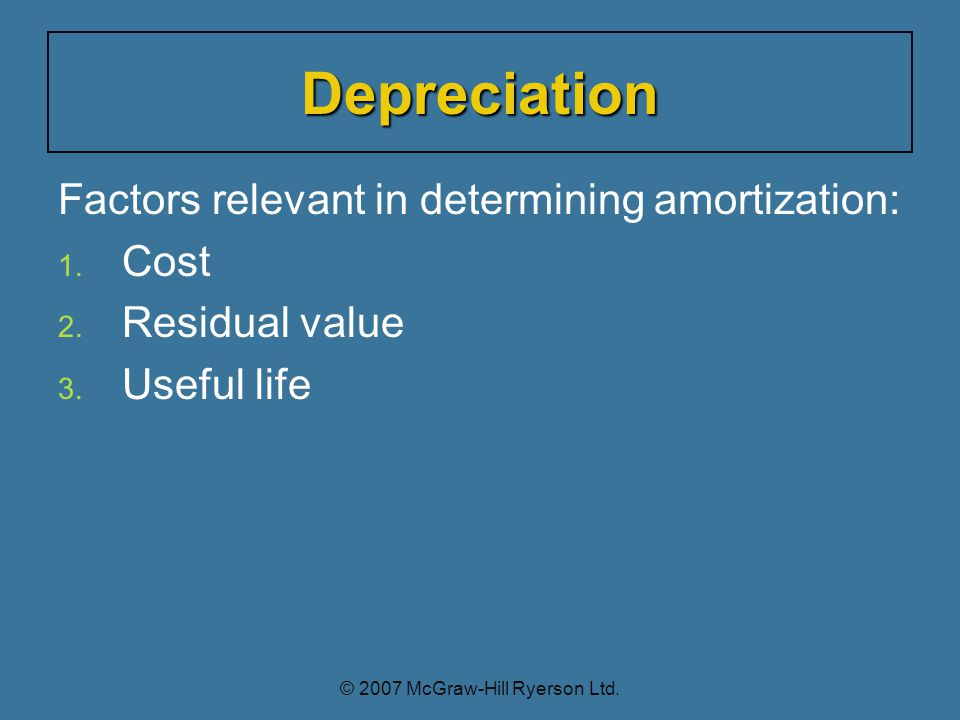 Factors relevant in determining amortization: 1. 1.