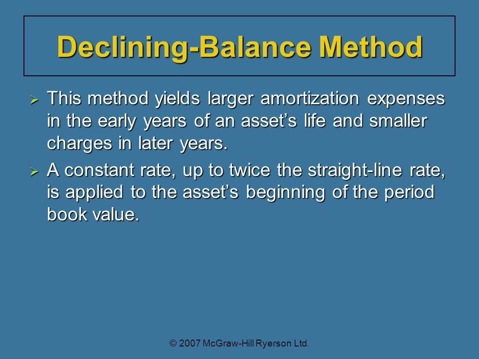  This method yields larger amortization expenses in the early years of an asset's life and smaller charges in later years.