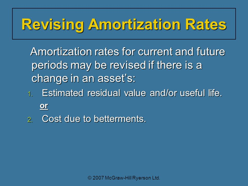 Amortization rates for current and future periods may be revised if there is a change in an asset's: Amortization rates for current and future periods may be revised if there is a change in an asset's: 1.