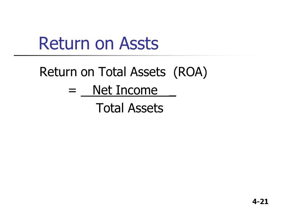 4-21 Return on Assts Return on Total Assets (ROA) = Net Income _ Total Assets