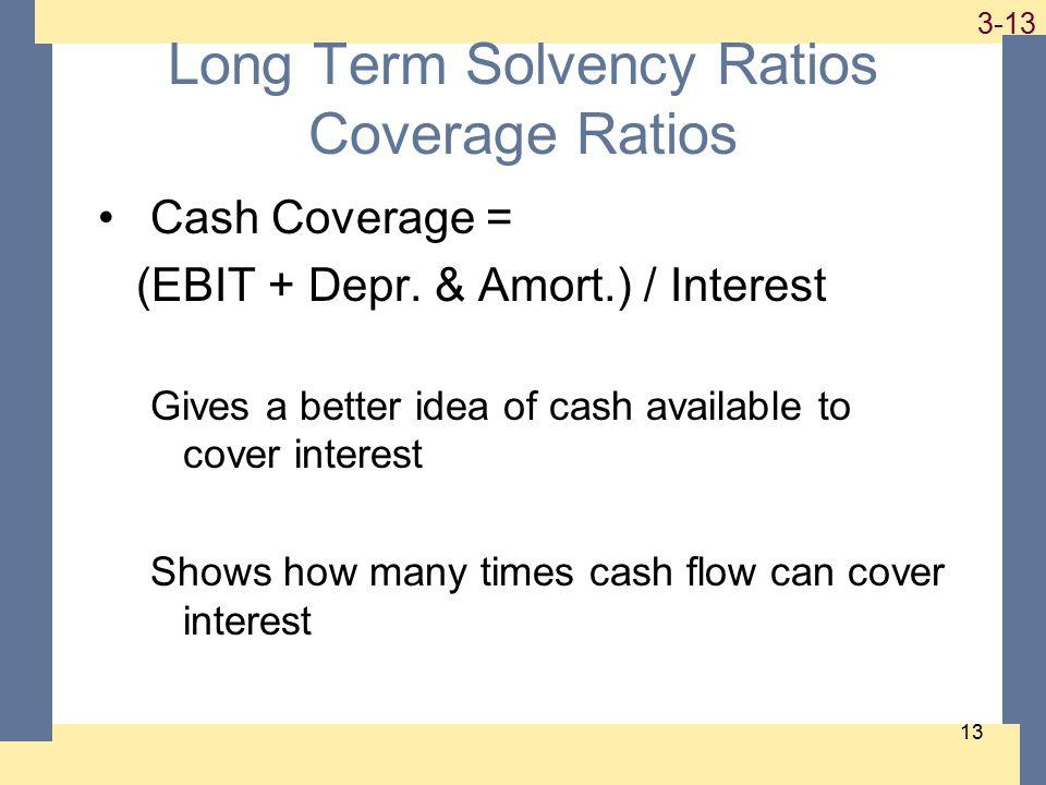 1-13 3-13 13 Long Term Solvency Ratios Coverage Ratios Cash Coverage = (EBIT + Depr.