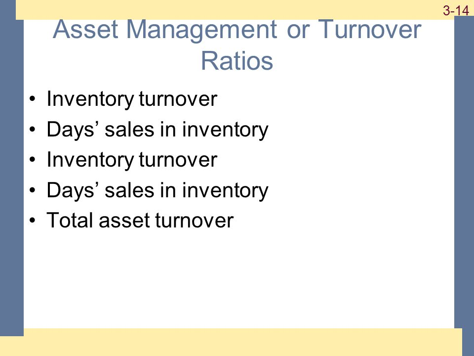 1-14 3-14 Asset Management or Turnover Ratios Inventory turnover Days' sales in inventory Inventory turnover Days' sales in inventory Total asset turnover