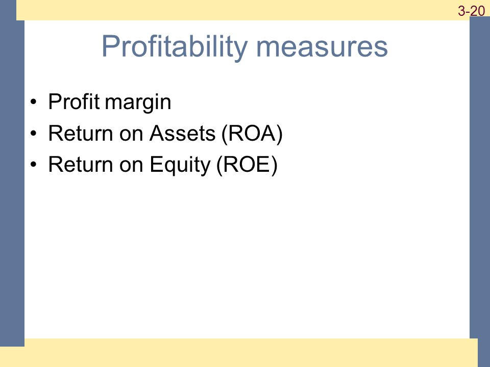 1-20 3-20 Profitability measures Profit margin Return on Assets (ROA) Return on Equity (ROE)