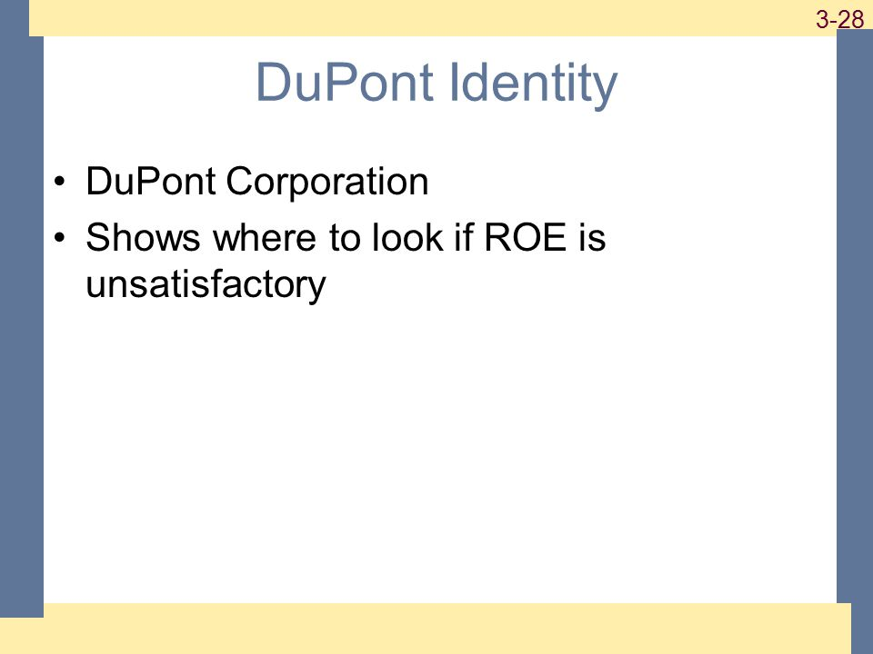 1-28 3-28 DuPont Identity DuPont Corporation Shows where to look if ROE is unsatisfactory