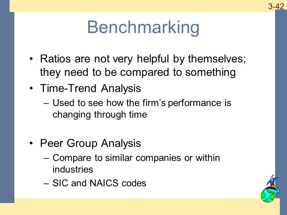 1-42 3-42 42 Benchmarking Ratios are not very helpful by themselves; they need to be compared to something Time-Trend Analysis –Used to see how the fi