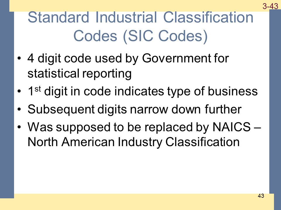 1-43 3-43 Standard Industrial Classification Codes (SIC Codes) 4 digit code used by Government for statistical reporting 1 st digit in code indicates type of business Subsequent digits narrow down further Was supposed to be replaced by NAICS – North American Industry Classification 43