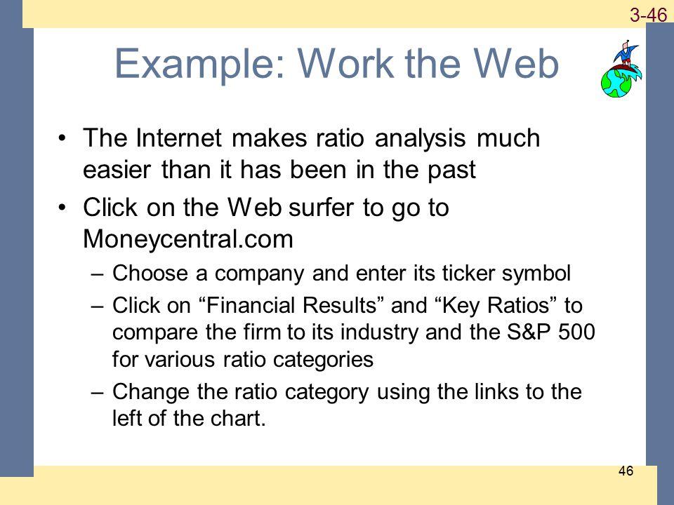 1-46 3-46 46 Example: Work the Web The Internet makes ratio analysis much easier than it has been in the past Click on the Web surfer to go to Moneycentral.com –Choose a company and enter its ticker symbol –Click on Financial Results and Key Ratios to compare the firm to its industry and the S&P 500 for various ratio categories –Change the ratio category using the links to the left of the chart.