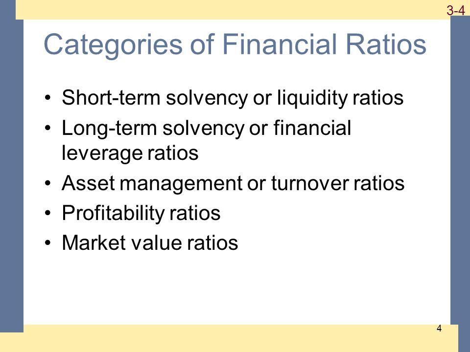 1-4 3-4 4 Categories of Financial Ratios Short-term solvency or liquidity ratios Long-term solvency or financial leverage ratios Asset management or turnover ratios Profitability ratios Market value ratios