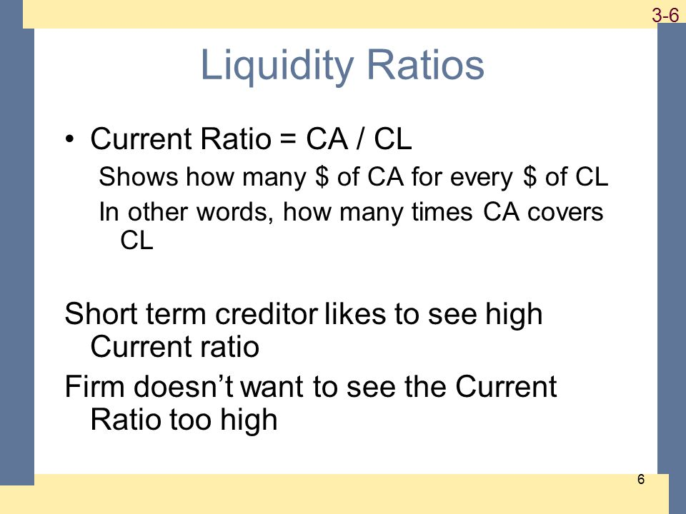 1-6 3-6 6 Liquidity Ratios Current Ratio = CA / CL Shows how many $ of CA for every $ of CL In other words, how many times CA covers CL Short term creditor likes to see high Current ratio Firm doesn't want to see the Current Ratio too high