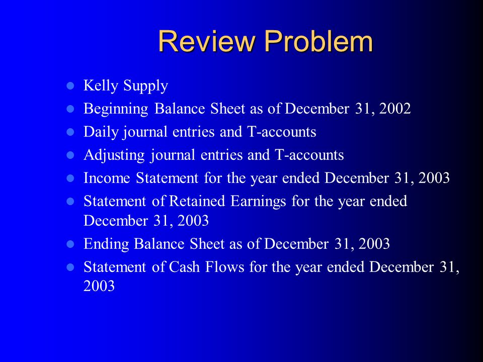 Review Problem Kelly Supply Beginning Balance Sheet as of December 31, 2002 Daily journal entries and T-accounts Adjusting journal entries and T-accounts Income Statement for the year ended December 31, 2003 Statement of Retained Earnings for the year ended December 31, 2003 Ending Balance Sheet as of December 31, 2003 Statement of Cash Flows for the year ended December 31, 2003